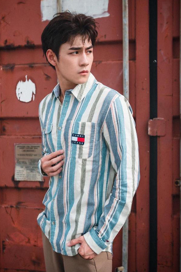 Tommy Jeans relaxed fit stripe Shirt Blue/Green/White