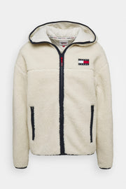 Tommy Jeans sherpa zip hooded jacket Natural
