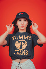 Tommy Jeans women cropped corset T-Shirt Washed Navy