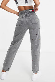 Tommy Jeans women embroidered flag Jean Washed Grey
