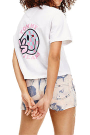 Tommy Jeans women smiley cropped T-Shirt White