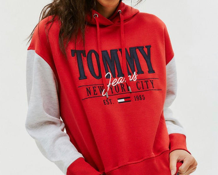 Tommy Jeans women Embroidered Logo Cropped Hoodie Red/Grey