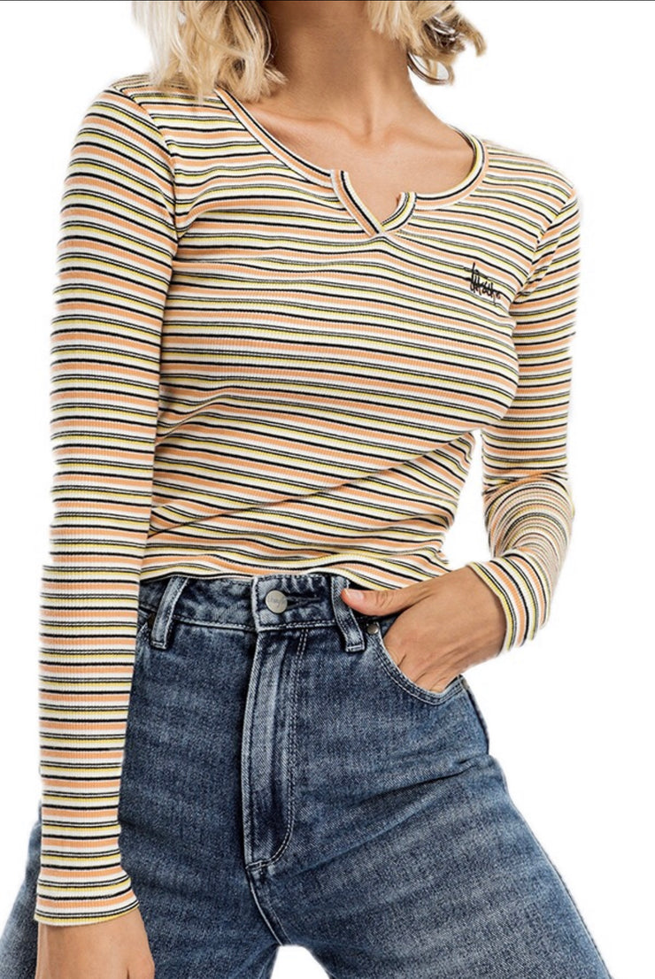 Stussy women Flynn LS T-Shirt Orange Stripe