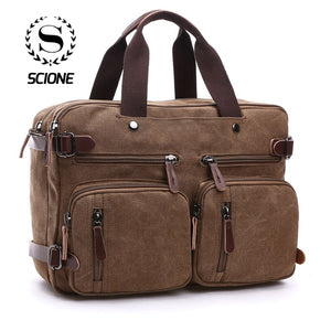 Scione Men Canvas Bag Leather Briefcase Travel Suitcase