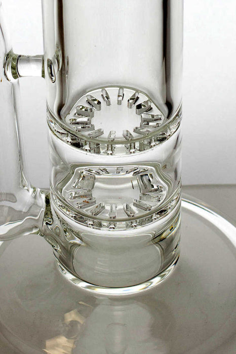"15"" double flat diffuser heavy glass water bong - One wholesale Canada"