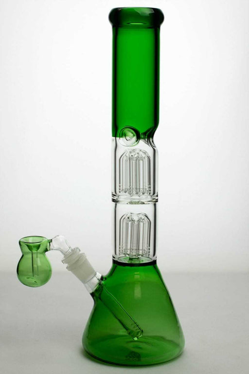 15 ihches double 6 tree arms percolator glass water bong - One wholesale Canada