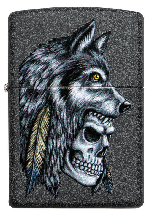 Zippo 29863 Wolf Skull Feather Design - One wholesale Canada
