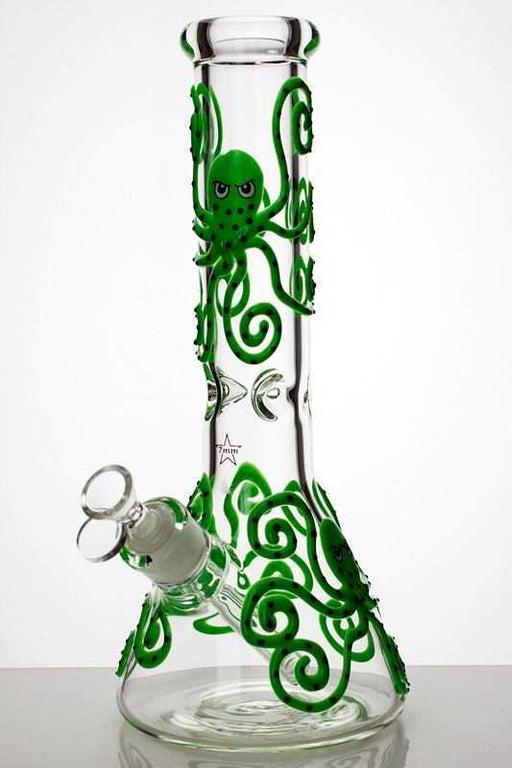 "13"" Glow in the dark octopus artwork 7 mm glass bong - One wholesale Canada"