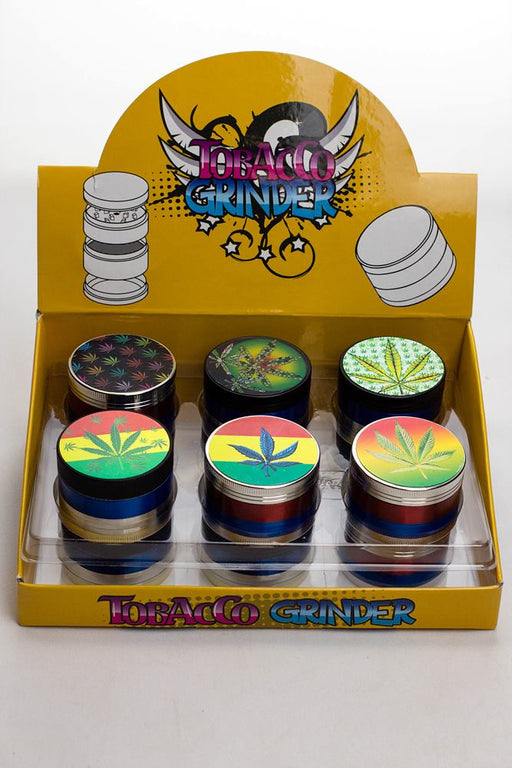 4 parts Hologram leaf color metal grinder - One wholesale Canada