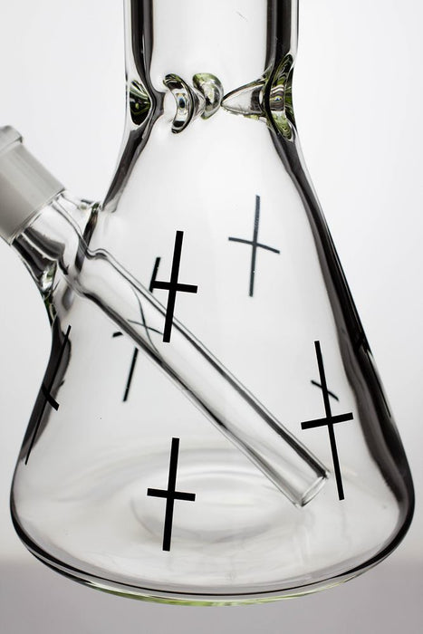 "17"" infyniti glass cross symbol printed beaker water bong - One wholesale Canada"