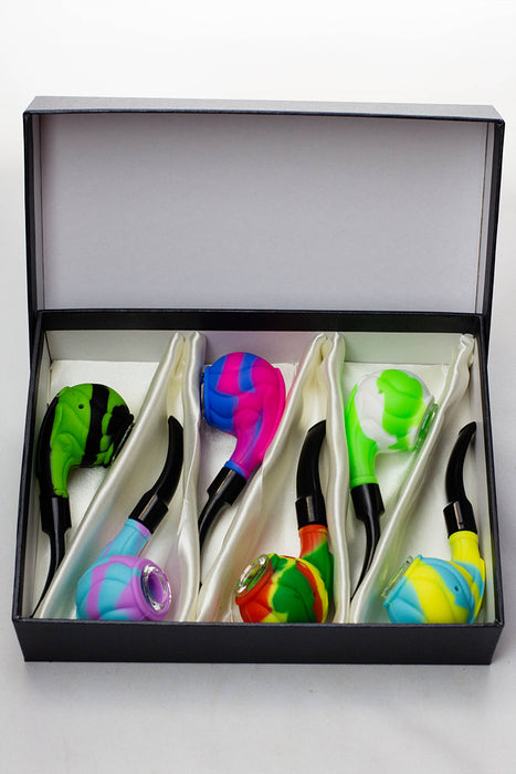 Sherlock Silicone pipe in display with glass bowl-WP139 - One wholesale Canada