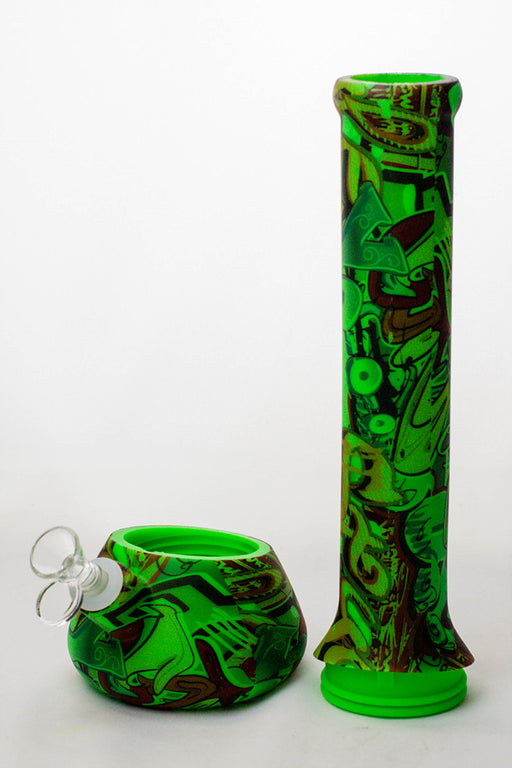 "13"" Detachable green silicone tube beaker water bong - One wholesale Canada"
