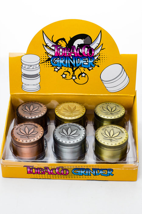 4 parts embossed leaf metal grinder display (12 pcs / display) - One wholesale Canada