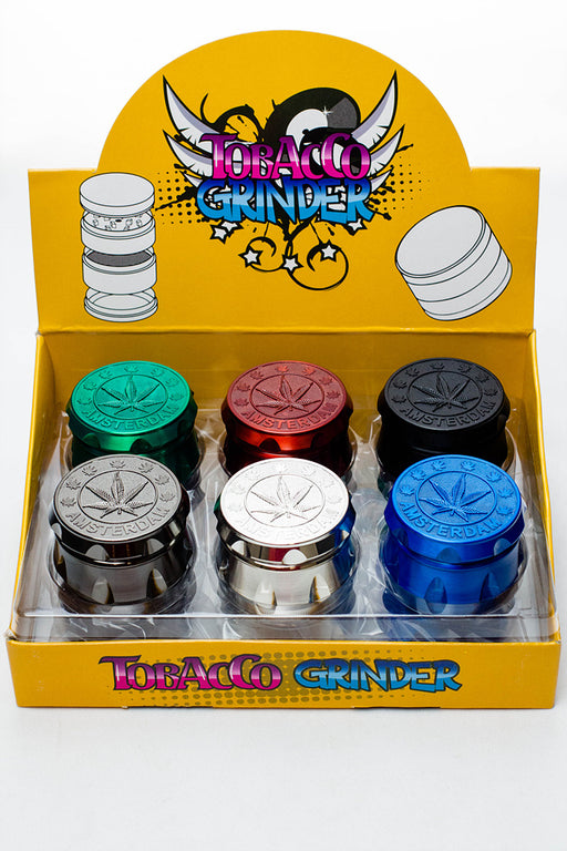 4 parts embossed Amsterdam leaf metal grinder display  (12 pcs / display) - One wholesale Canada