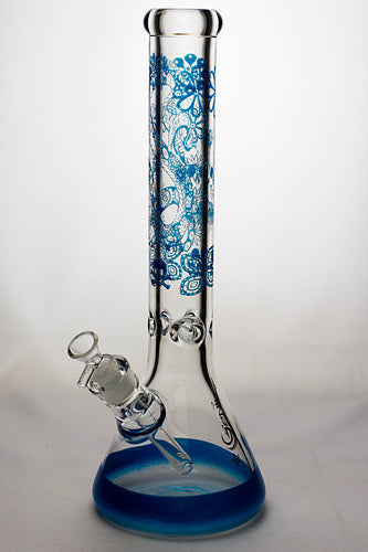 16 inches 9 mm sandblasting artwork glass water bong - One wholesale Canada