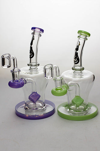 8 in. genie Cubic difussed bubbler with a banger - One wholesale Canada