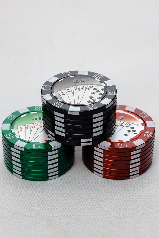 Poker Chip Herb Grinder in a display