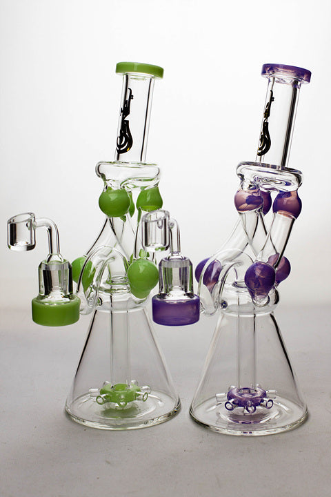 "11"" Three tube and shower head diffused recycler with a banger - One wholesale Canada"