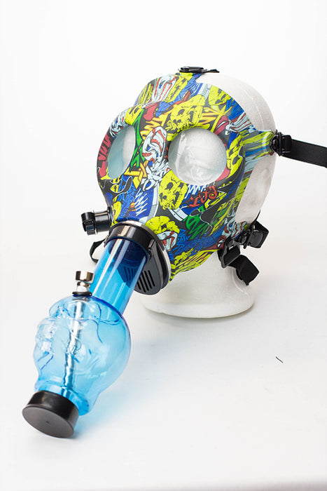 Full face graphic Silicone Gas Mask with acrylic bong - One wholesale Canada