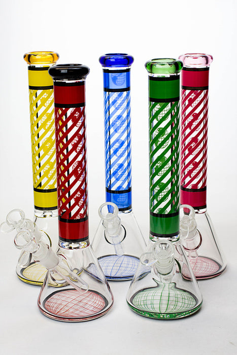 "12"" stripe glass beaker water bong - One wholesale Canada"