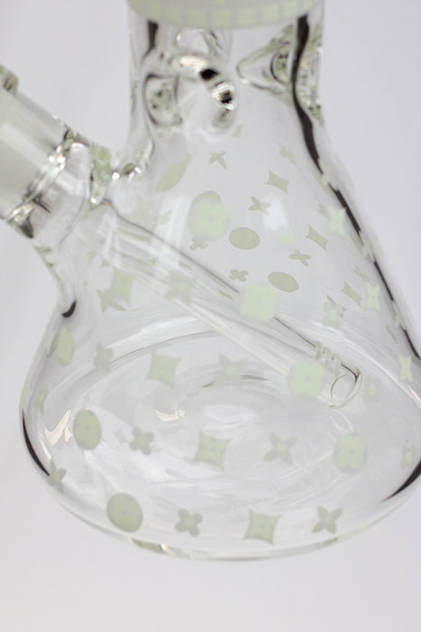 "14"" Infyniti logo Pattern Glow in the dark 7 mm glass bong"