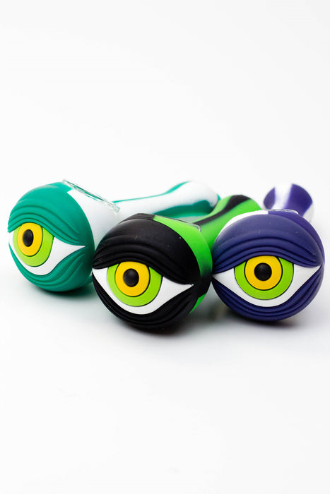EYE Silicone hand pipe with glass bowl