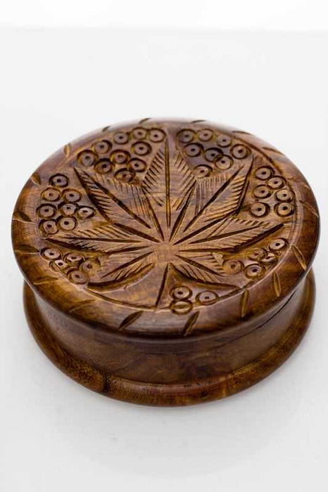 Leaf carved  2 parts wooden grinder - One wholesale Canada