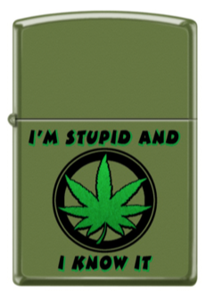 Zippo 228 - 064438 Stupid Weed Green - One wholesale Canada