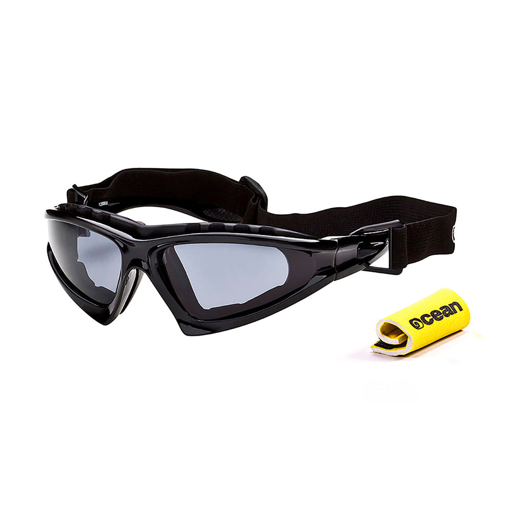 Ocean sunglasses model cabarete 12000.0 with black satin frame and smoke lens polarized eyewear for water sports