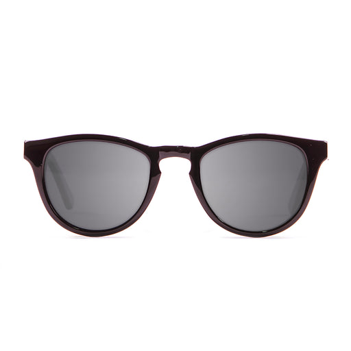 ocean sunglasses KRNglasses model AMERICA SKU 12100.1 with shiny black frame and smoke lens
