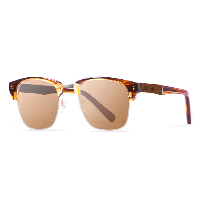 ocean sunglasses KRNglasses model NIZA SKU 13101.2 with nickel brown frame and blue lens