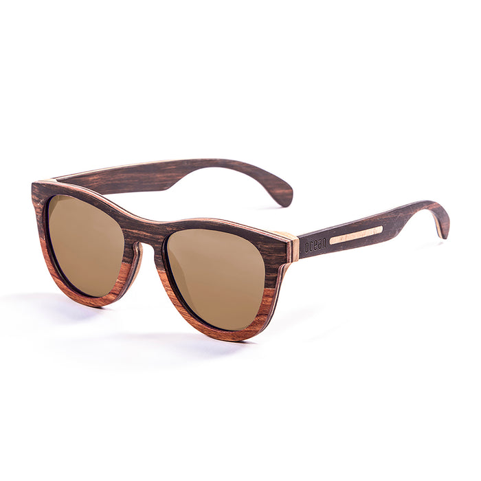 ocean sunglasses KRNglasses model WEDGE SKU 66001.0 with five layers wood frame and revo green lens