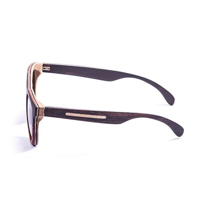 ocean sunglasses KRNglasses model WEDGE SKU 66002.0 with five layers wood frame and revo gold lens