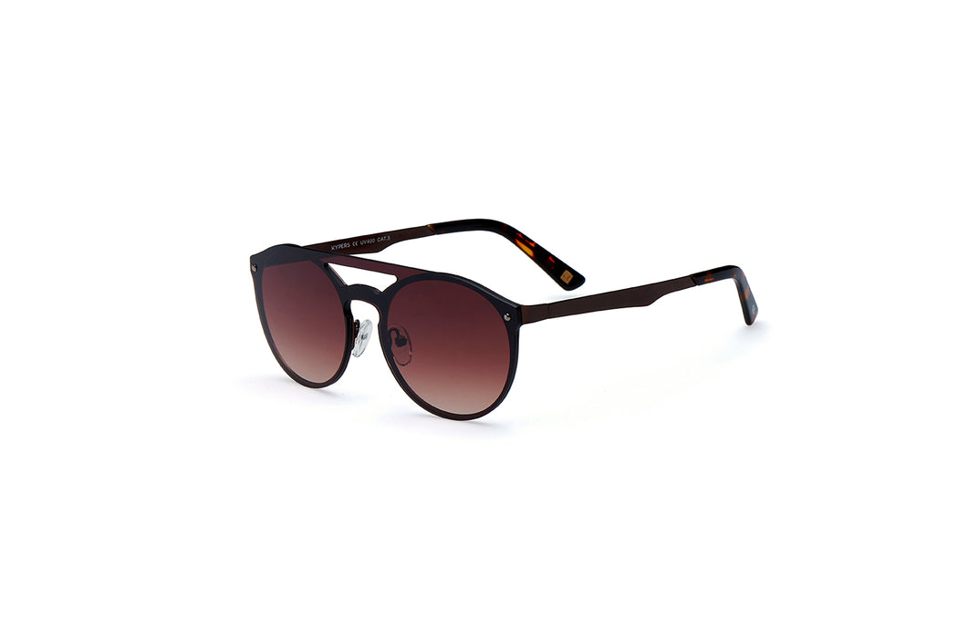 ocean sunglasses KRNglasses model ALEX SKU AE006 with gold frame and pink mirror lens