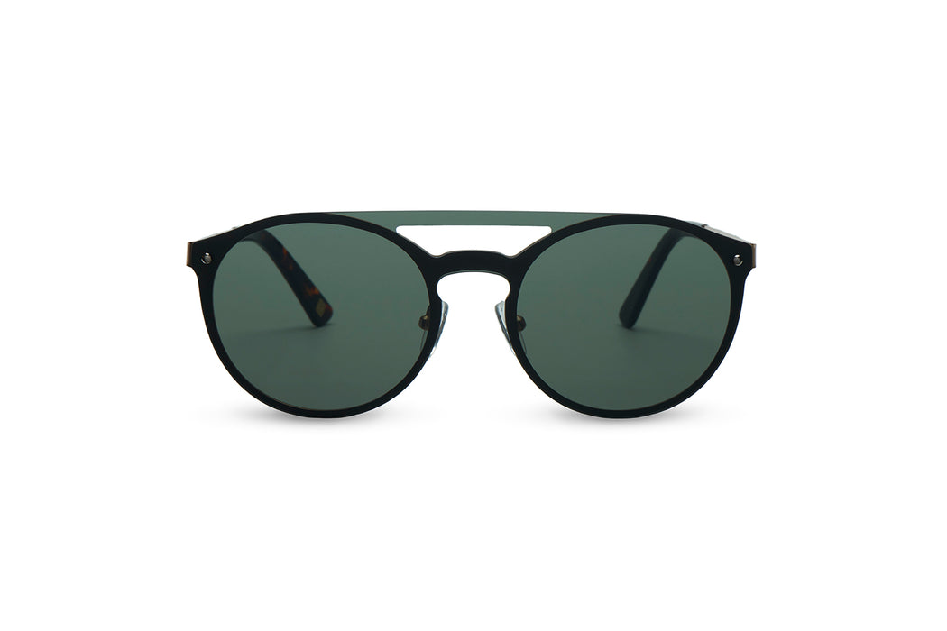 ocean sunglasses KRNglasses model ALEX SKU AE007 with silver frame and blue mirror lens