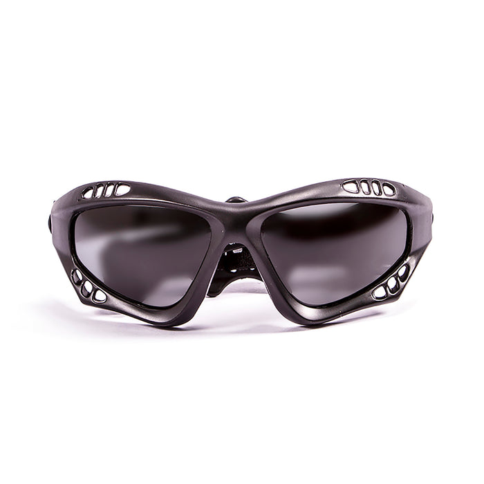 Ocean sunglasses model australia 11700.0 with matte black frame and smoke lens polarized eyewear for water sports