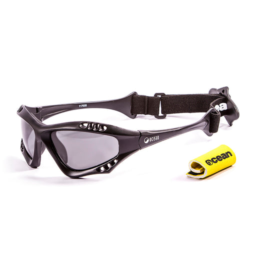 Ocean sunglasses model australia 11700.1 with shiny black frame and smoke lens polarized eyewear for water sports