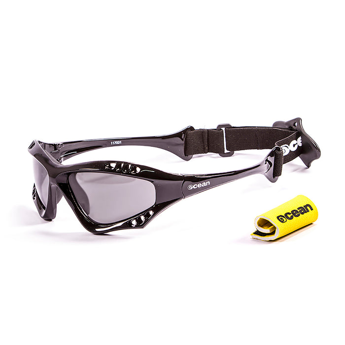 Ocean sunglasses model australia 11700.3 with shiny white frame and smoke lens polarized eyewear for water sports