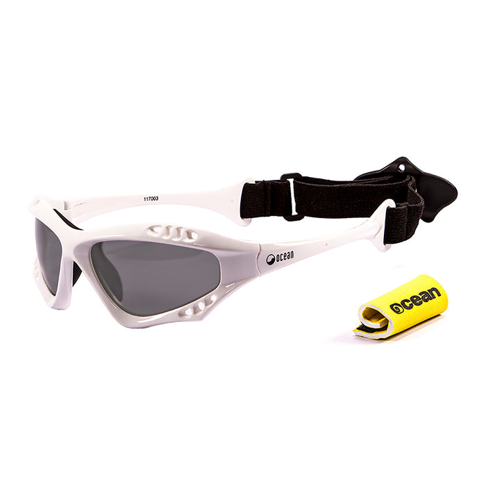 Ocean sunglasses model australia 11701.0 with matte black frame and revo red lens polarized eyewear for water sports