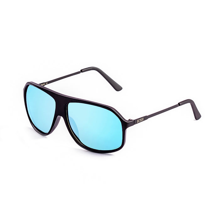ocean sunglasses KRNglasses model BAI SKU 15200.17 with matte black frame and revo sky blue flat lens