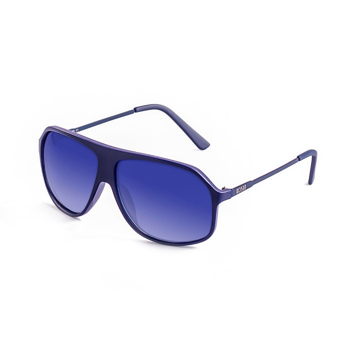ocean sunglasses KRNglasses model BAI SKU 15200.18 with matte blue frame and dark blue gradiant lens
