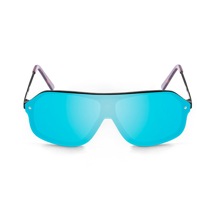 ocean sunglasses KRNglasses model BAI SKU 15200.10 with matte black frame and revo sky blue lens