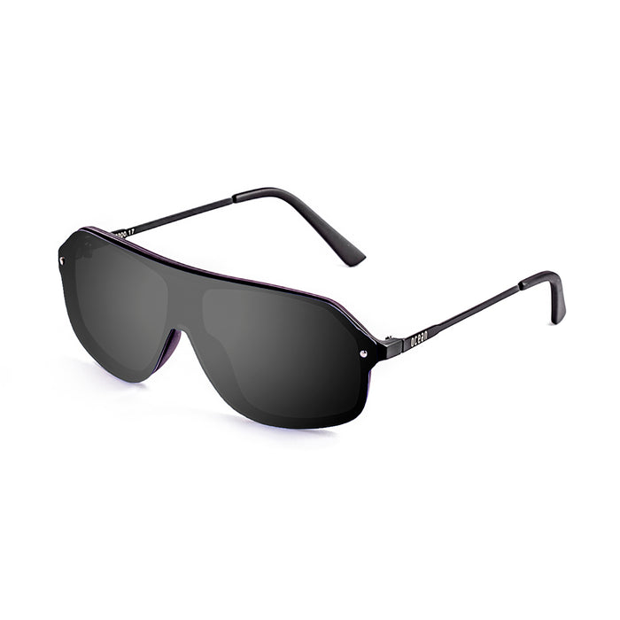 ocean sunglasses KRNglasses model BAI SKU 15200.1 with shiny black frame and smoke lens