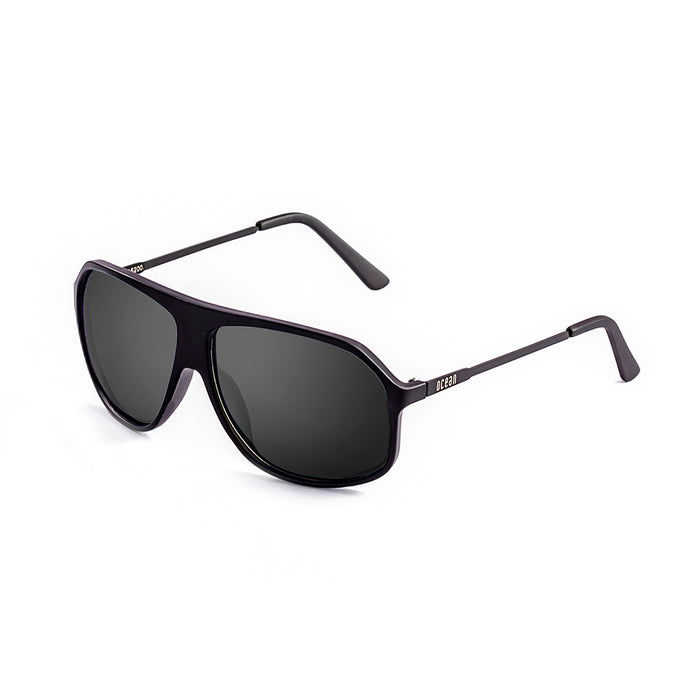 ocean sunglasses KRNglasses model BAI SKU 15200.16 with matte black frame and smoke flat lens
