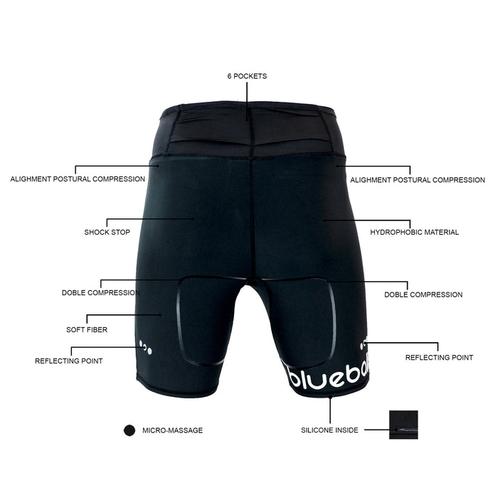 BLUEBALL MEN Running Short Men With Pocket Black Compression Pants