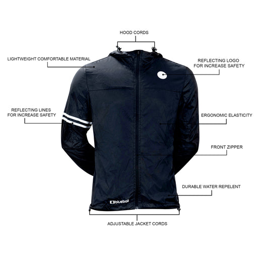 BLUEBALL MEN Windbreaker Jacket With Hood Black Jacket