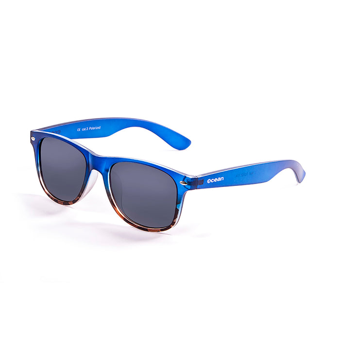 ocean sunglasses KRNglasses model BEACH SKU 18202.47 with matte brown frame and revo green lens