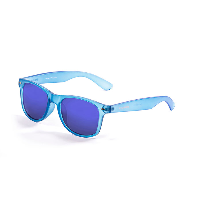 ocean sunglasses KRNglasses model BEACH SKU 18202.5 with shiny black frame and revo green iridium lens