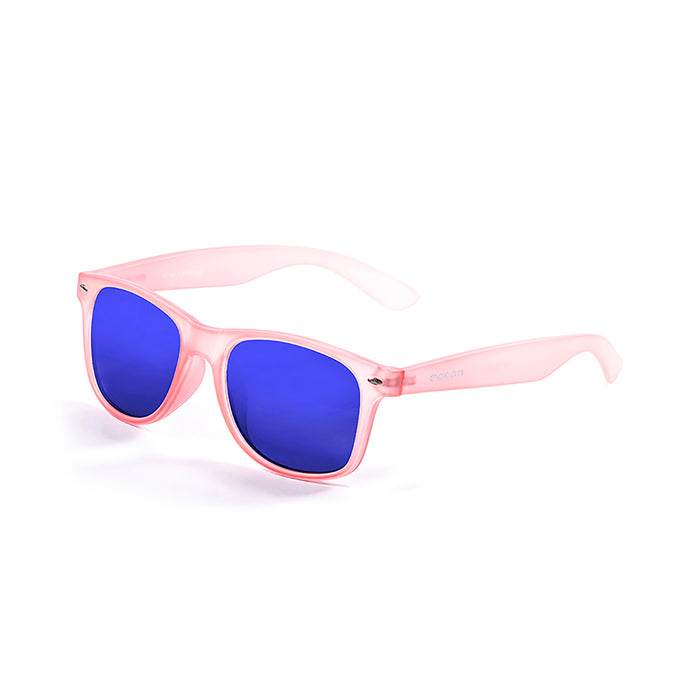 ocean sunglasses KRNglasses model BEACH SKU 18202.87 with white frosted frame and revo orange lens