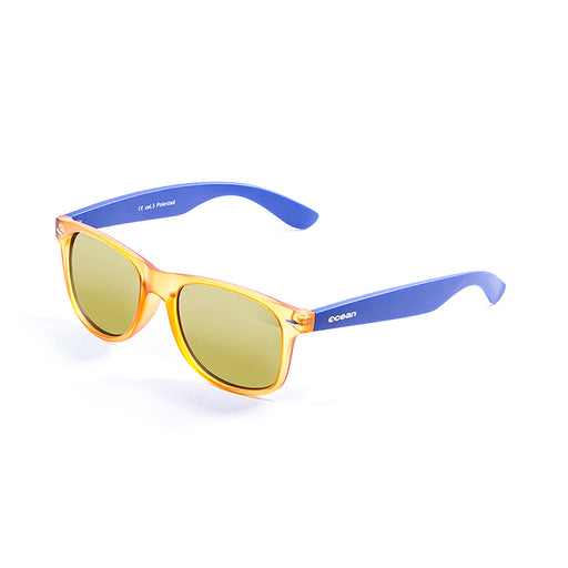 ocean sunglasses KRNglasses model BEACH SKU 18202.3 with shiny black frame and revo orange iridium lens